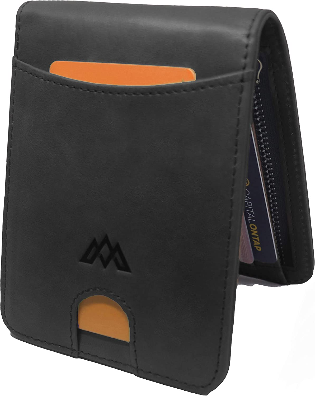 Durable Genuine Leather Travel Wallet Credit Card Holder Up to 16 Cards Black Mens Wallet RFID Blocking with Ultra Slim Wallet Design Stylish Minimalist Mini Wallet with Gift Box Gift for Men