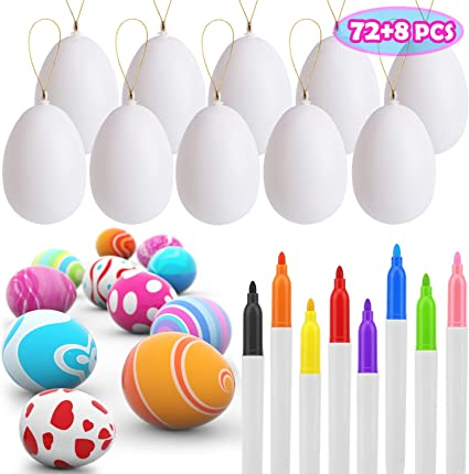 UFUNGA 72 Pcs Easter Eggs Decorations Kit, White Blank Easter Eggs with 8 Drying Markers and Rope, Hanging Plastic Egg for Easter Crafts