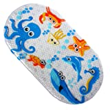 Safety Kids Cartoon Non Slip Suction PVC Massage Shower Little Cuties Anti Slip Bath Mat for Bathtub, Bathroom and Baby, Cute, Skid Proof, 70 X 38 cm (Octopus)