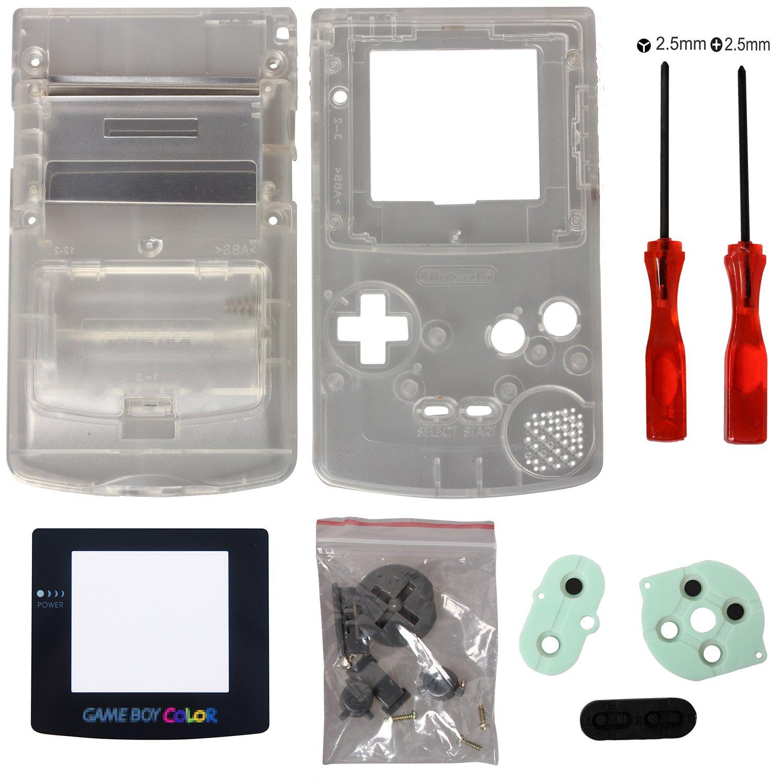 Timorn GBC Carcasa, Completo Vivienda Shell Case Cover Reemplazo para GBC Gameboy Color (Transparente)