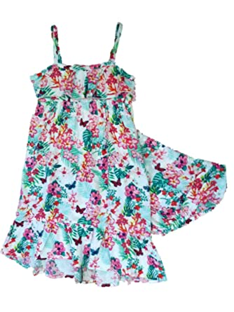 215f01ea3e82 Toughskins Infant & Toddler Girls Floral Maxi Sundress Butterfly Dress 24  Months White