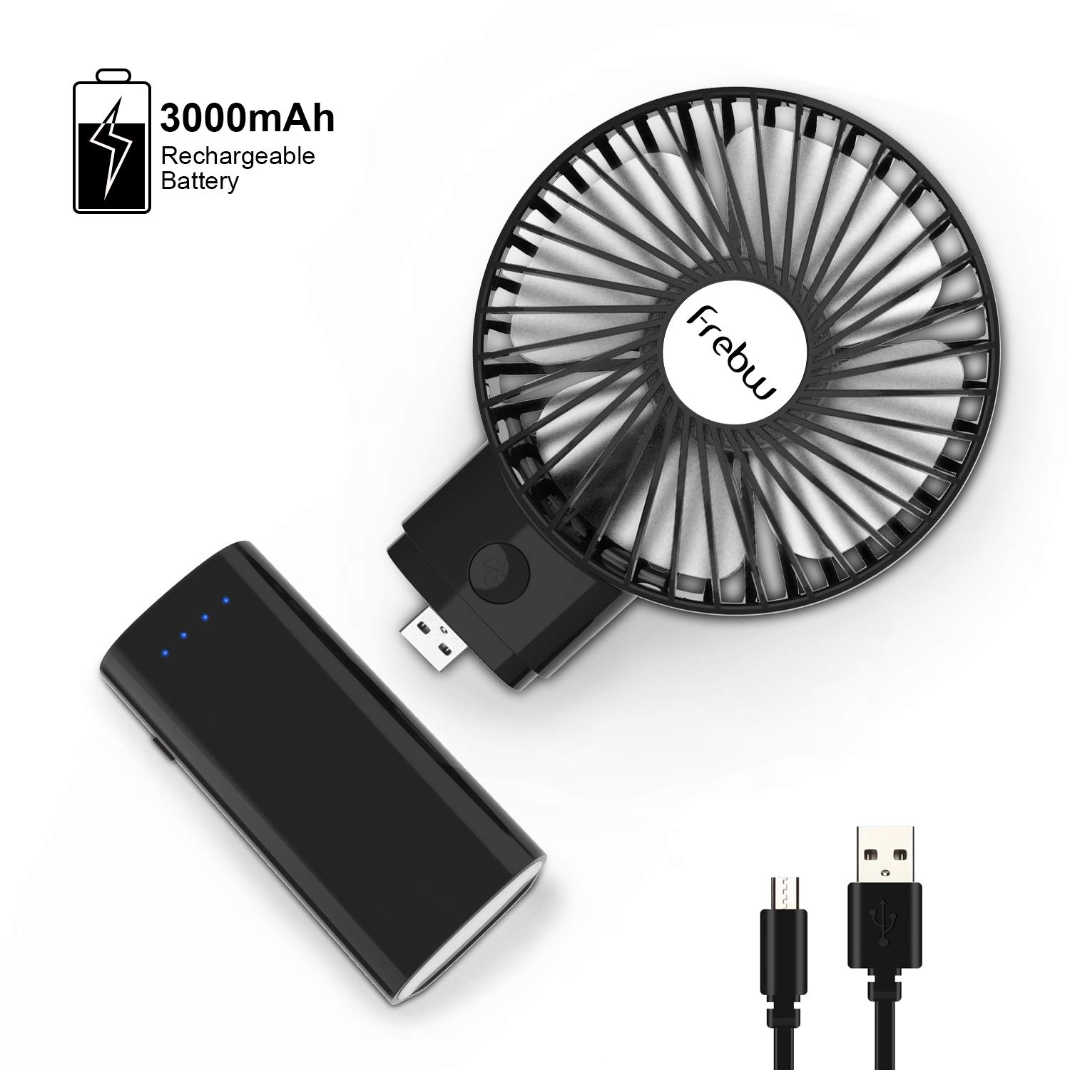 Frebw 3000mAh USB Mini Handheld Sized Fan, Portable Handheld Fan with 8 Hours Working Time, 3 Setting, Strong Wind, Foldable Design, for Kids Travel Camping and Indoor Outdoor Activities Black