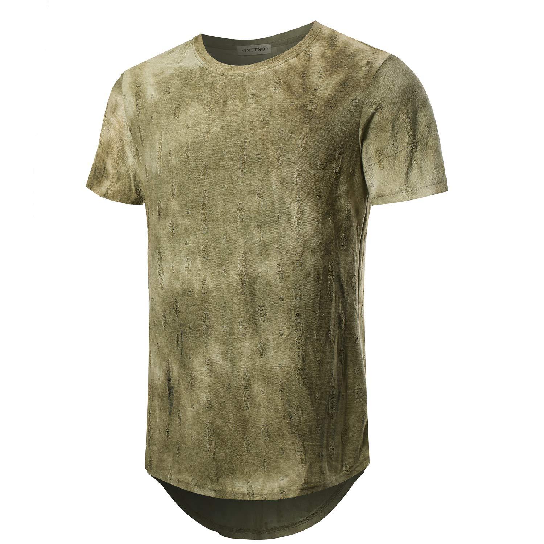 BITLIVE Mens Hipster Hip Hop Elong Round Hemline Crewneck Camouflage T-Shirt (X-Large, Green)