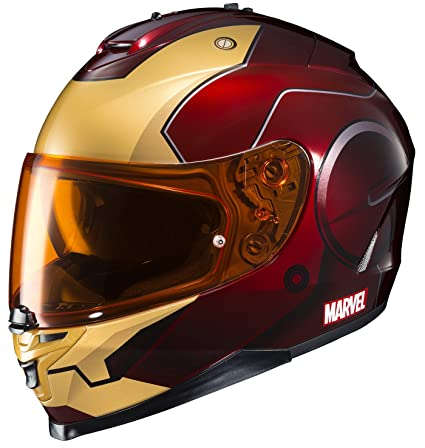 HJC Helmets Marvel IS-17 Unisex-Adult Full Face IRONMAN Street Motorcycle Helmet (Red/Yellow, Medium)
