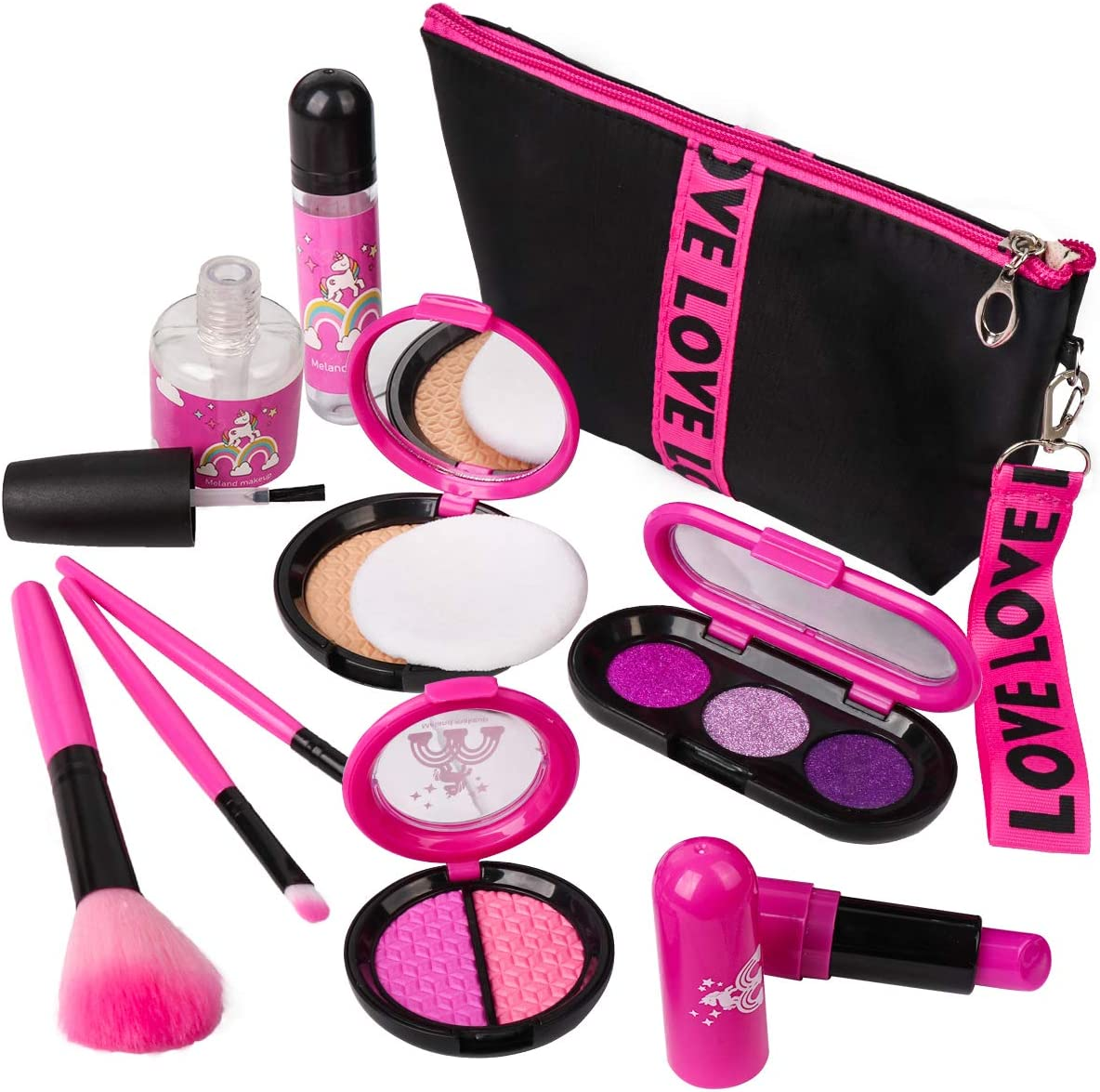 Girls Pretend Play Makeup Sets - LOYO Fake Make Up Kits with Cosmetic Bag for Little Girls Birthday Christmas Holiday Gift, Toy Makeup Set for Toddler Girls Age 2, 3, 4, 5 (Not Real Makeup)