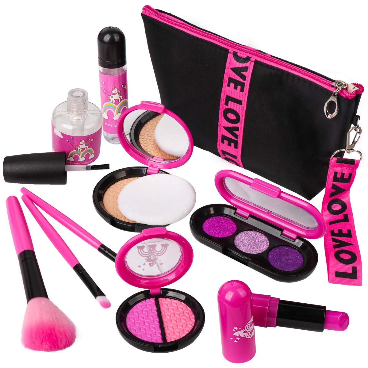 Girls Pretend Play Makeup Sets - LOYO Fake Make Up Kits with Cosmetic Bag for Little Girls Birthday Christmas Holiday Gift, Toy Makeup Set for Toddler Girls Age 2, 3, 4, 5 (Not Real Makeup) by LOYO