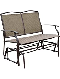 HollyHOME Patio Swing Glider Bench For 2 Person, Garden Chair Rocking  Loveseat, All Weatherproof