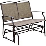 HollyHOME Patio Swing Glider Bench for 2 person, Garden Chair Rocking Loveseat, All Weatherproof, Brown