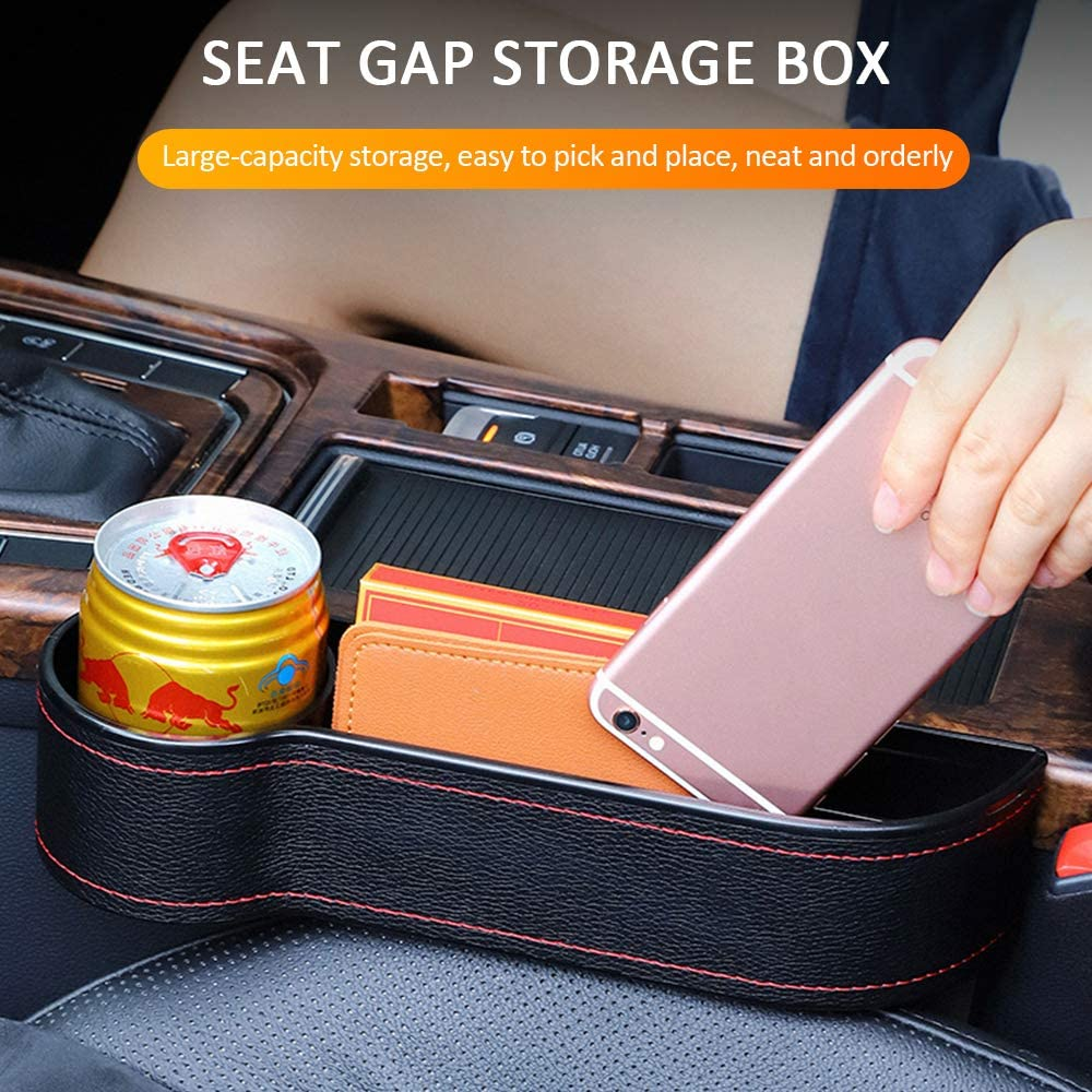Brown, left Car Console Side Pocket Seat Gap Catcher Organiser PU Leather Car Slit Filler 1pcs Baikewei Car Seat Crevice Storage Box