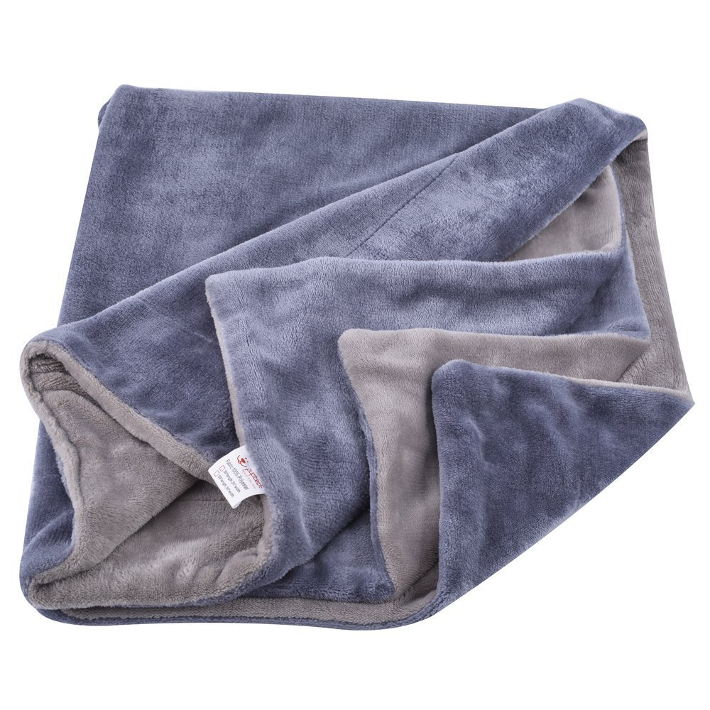 Reversible Dog Bed Blanket - Pet Flannel Soft Throw Grey Large by PUPETCK