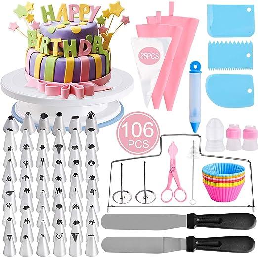 106pcs Cake Decorating Supplies Pieces Kit Baking Tools Turntable Stand Pen Set