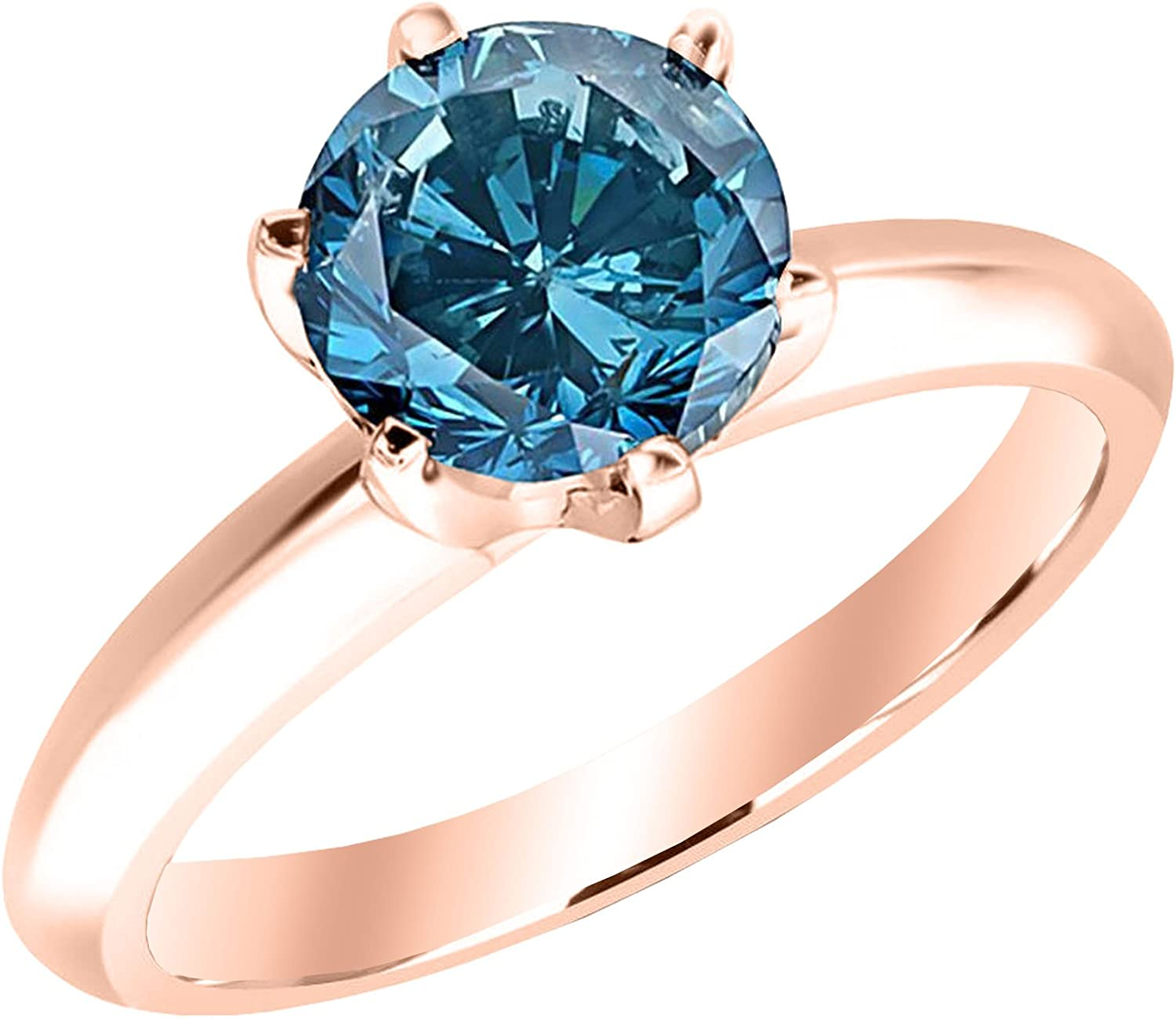1 1 2 1 5 Carat 14k Rose Gold Round Blue Diamond Solitaire Ring Aaa Quality Amazon Com