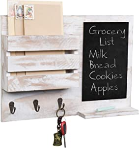 MyGift Shabby Whitewashed Wood Wall Mounted Mail Sorter with Chalkboard, 3 Key Hooks & Shelf