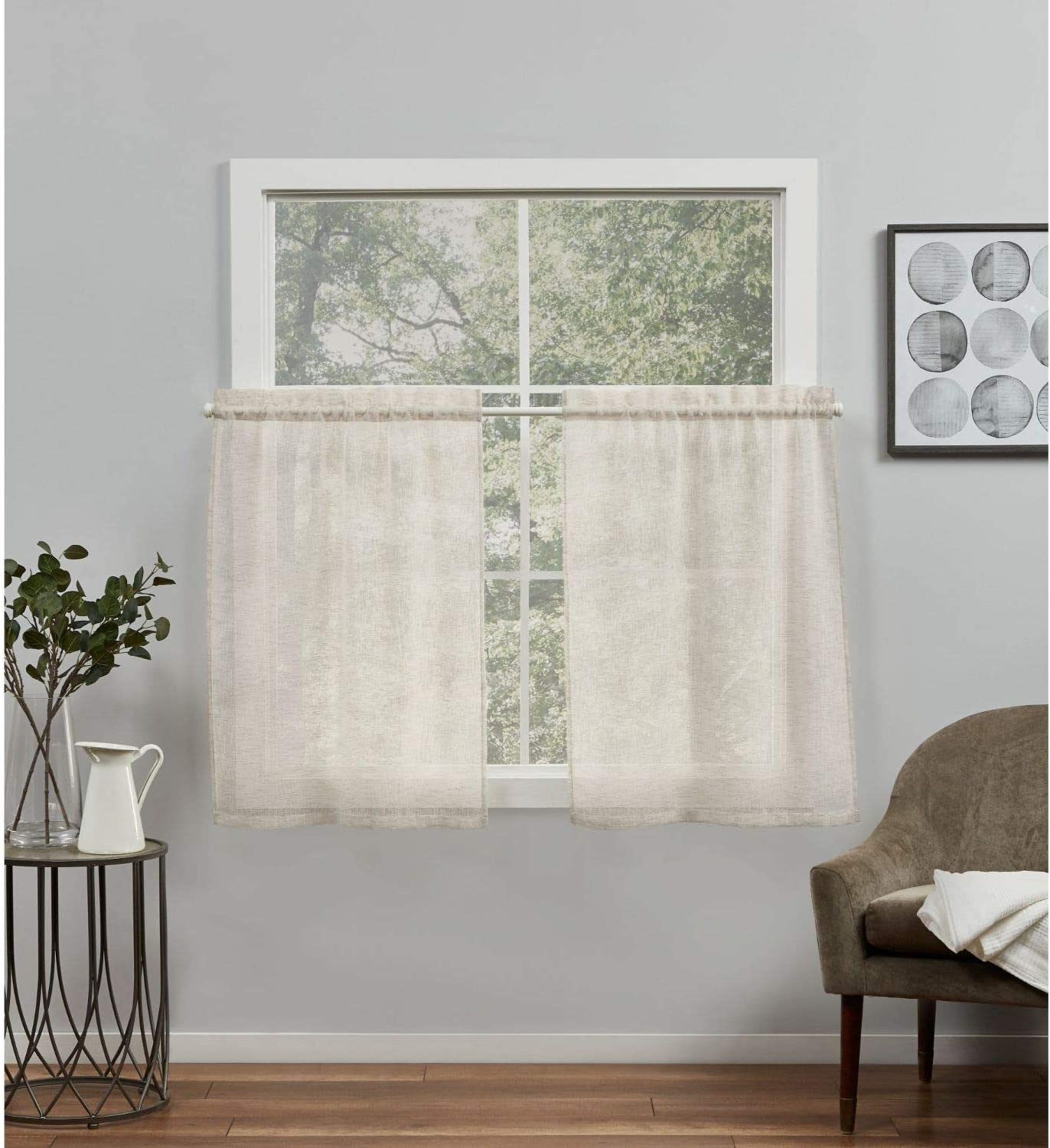 Exclusive Home Curtains Belgian Sheer Rod Pocket Tier Curtain Panel Pair, 26X24, Taupe