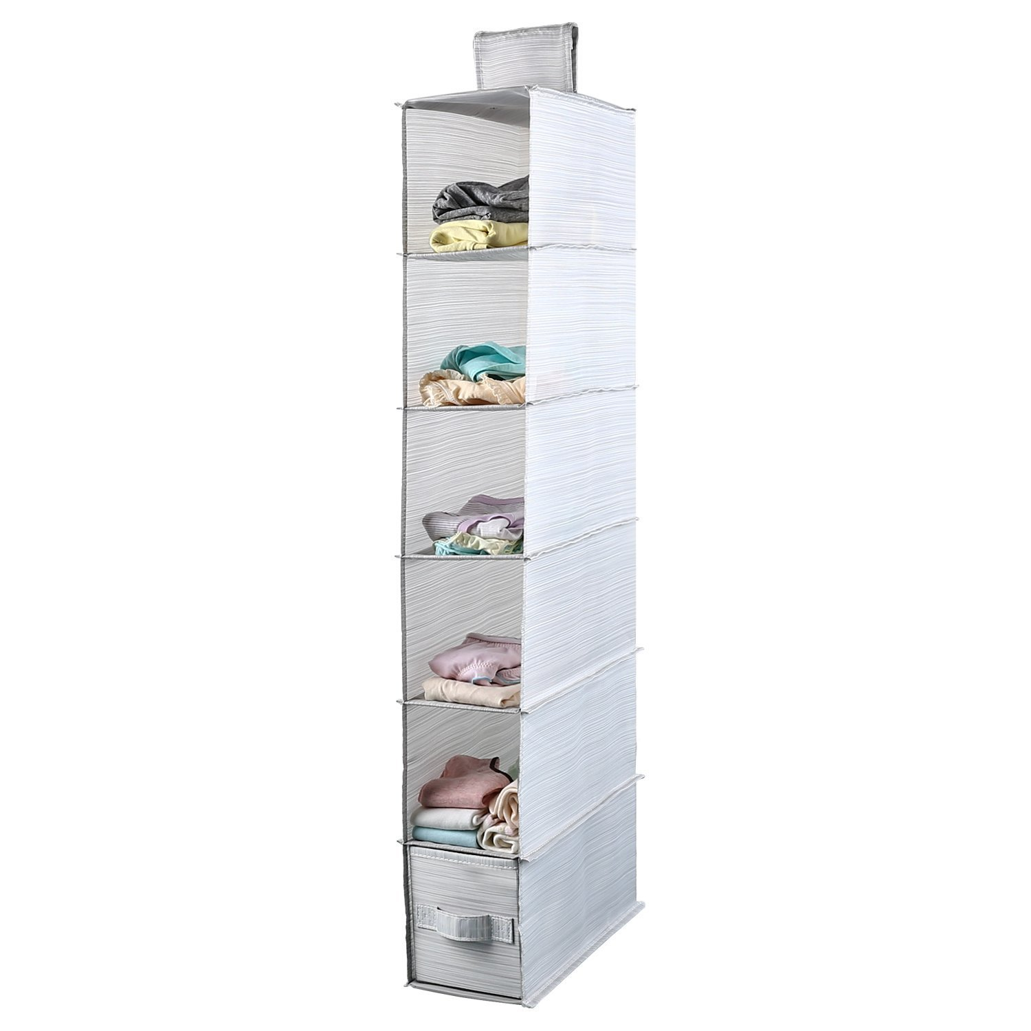 Mee'life Collapsible 6-shelf Hanging Closet Organizer with 1Drawer Thick Cardboard Boards Inside Suit for Clothes Sweaters Shoes Storage Hanging Wardrobe Storage Shelves Shoe Rack (Light Gray)