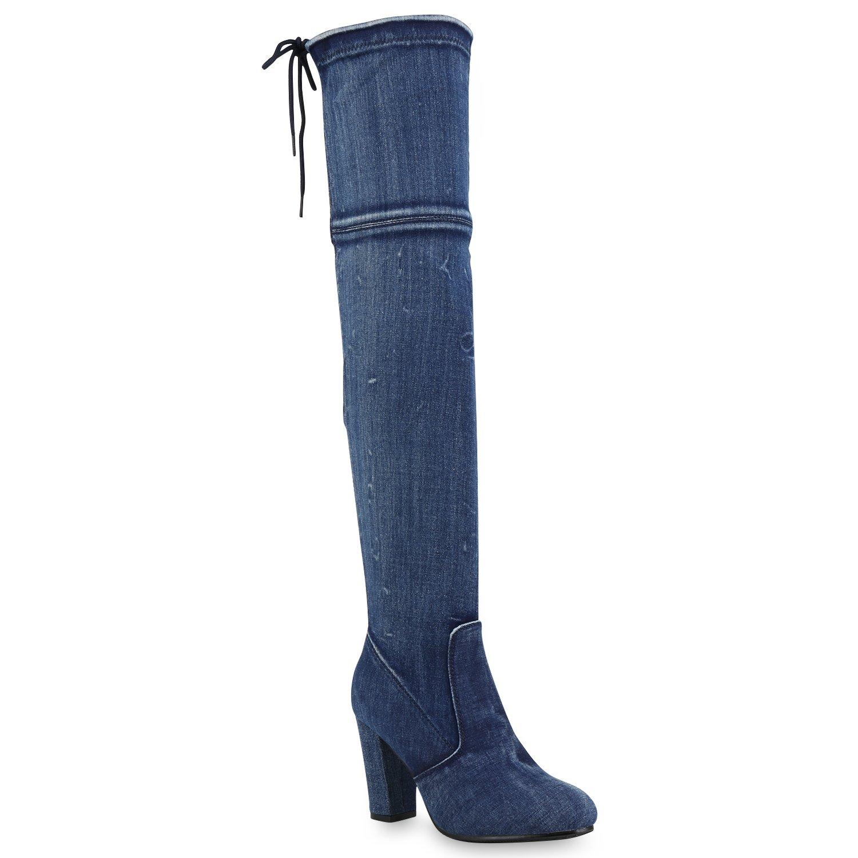 Stiefelparadies Damen Stiefel Overknees Leicht Gefüttert Flandell Blau Denim
