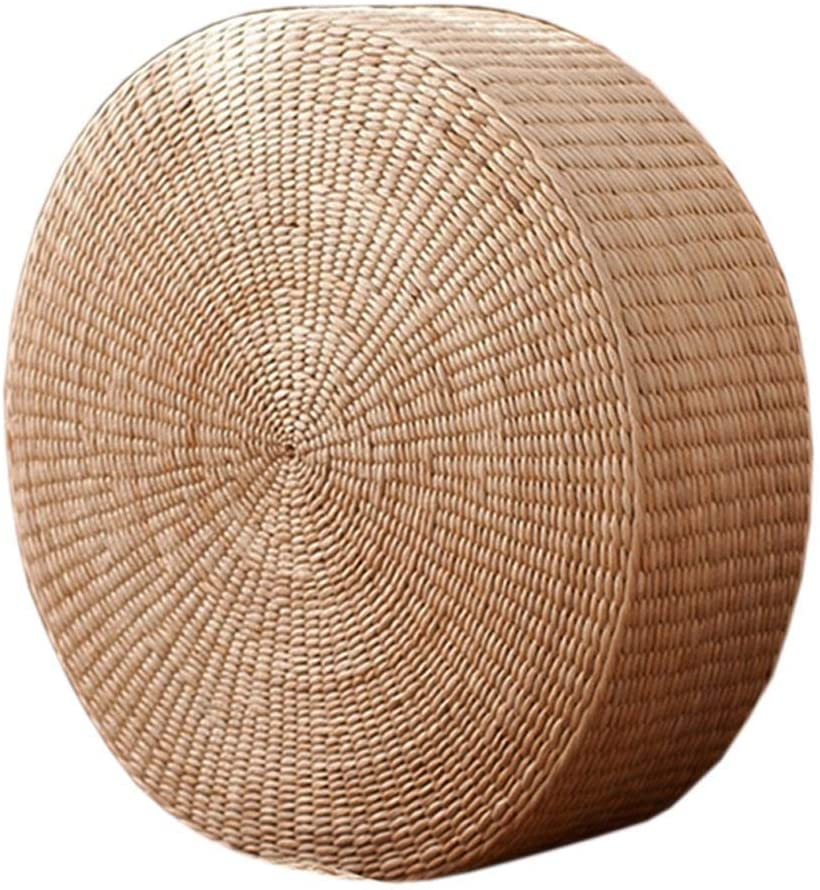 DUOSHIDA Japanese Style Handcrafted Eco-Friendly Breathable Padded Knitted Straw Flat Seat Cushion, Hand Woven Tatami Cushion Best for Zen, Yoga Practice or Buddha Meditation (19.6