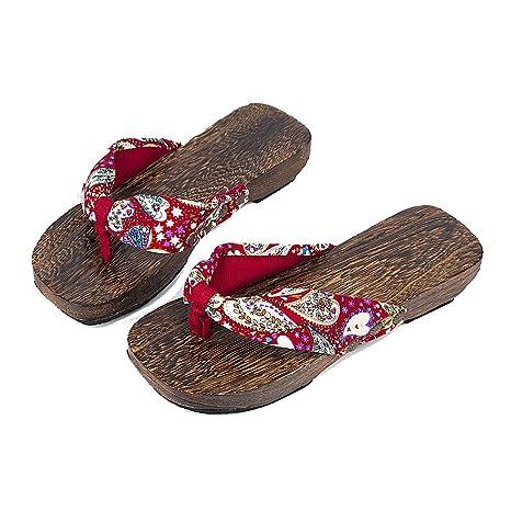 Japonesas De Mujer Hwed29i Madera Lanker Verano Para Sandalias Geta 34LARq5j