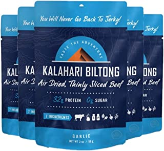 product image for Garlic Kalahari Biltong, Air-Dried Thinly Sliced Beef, 2oz (Pack of 5), Sugar Free, Gluten Free, Keto & Paleo, High Protein Snack