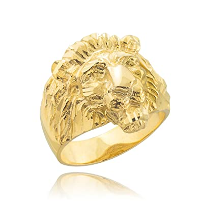 Little Treasures 10 ct Men s Solid Gold Lion Head Ring Amazon