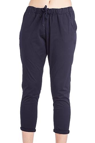 Abbino 1303 Pantalones para Mujer - Hecho en ITALIA - 4 Colores - Verano Primavera Algodón Largos De...