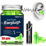 AMAZKER Anti-Noise Earplugs Soft Quiet Sleeping Ear Plugs With Aluminum Carry Case No Cords Noise Reduction Perfect For Study Sleeping Working Travel Snoring SNR 35dB 50 Pairs