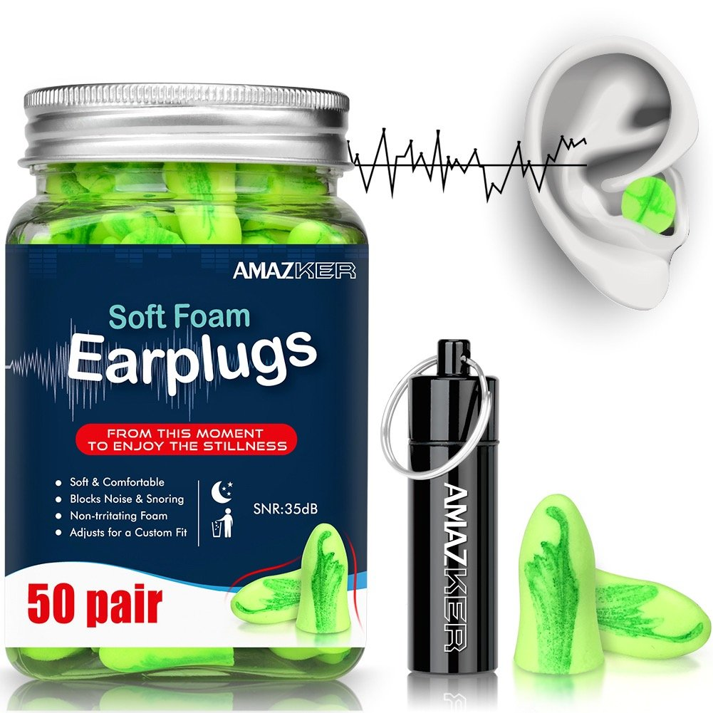 Ear Plugs AMAZKER Bell-Shaped Ultra Soft Earplugs Perfect For Sleeping Snoring Working Study Travel With Aluminum Carry Case No Cords Noise Reduction SNR 35dB 50 Pairs(AM-1006)