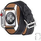 WFEAGL コンパチブル Apple Watch バンド, は本革を使い, iwatch series4/3/2/1 レザー製,Sport/Edition向けのバンド交換ストラップです コンパチブル アップルウォッチ バンド (38mm 40mm, 二重巻き型 ブラック +シルバー バックル)