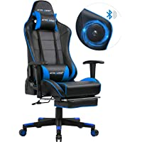 GTRACING Gaming Chair with Bluetooth Speakers and Footrest Music Video Game Chair Audio Heavy Duty Computer Desk Chair GT909M Blue