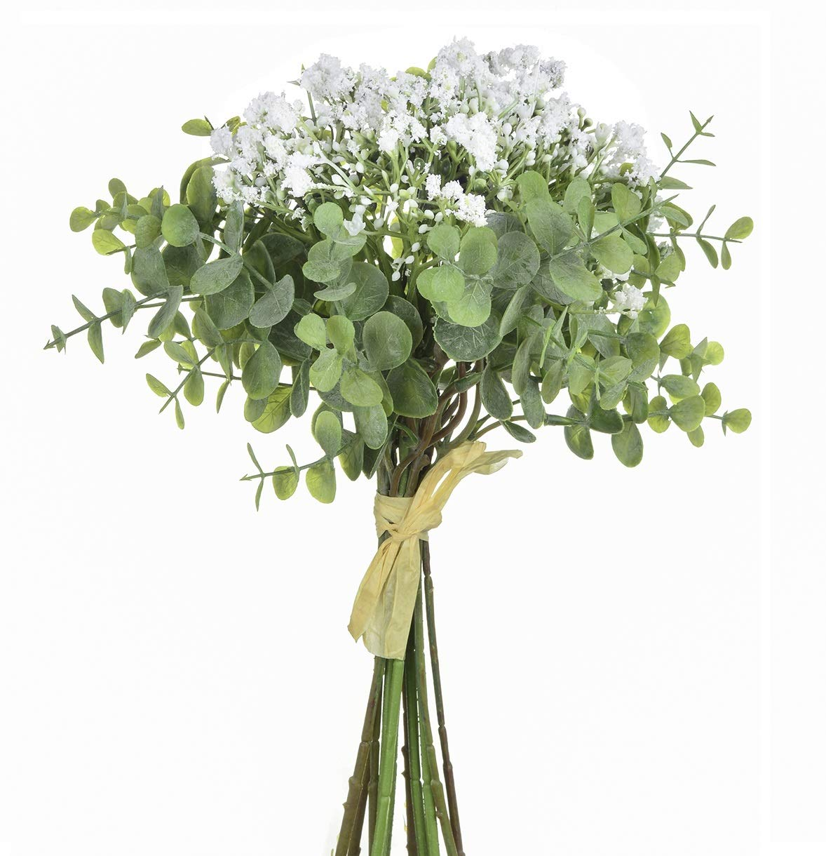 silk flower arrangements baby plum fake flowers pack of 1 flower bouquets,total of 6 baby breath flowers and 6 silver dollar eucalyptus artificial flowers for home office indoor outdoor wedding aisle decoration(white)