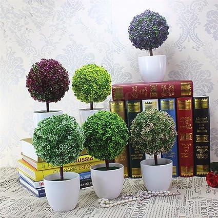 HMILYDYK - Árbol sintético artificial en maceta blanca, decoración de mesa, para interior y exterior: Amazon.es: Hogar