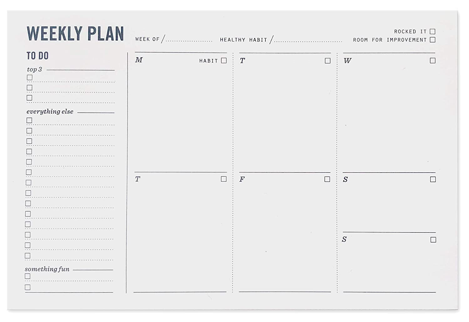 "Weekly Planner Notepad - Desktop Planning Pad with to Do List, Daily Schedule, and Habit Tracker - 50 Sheets, 9"" x 6"""