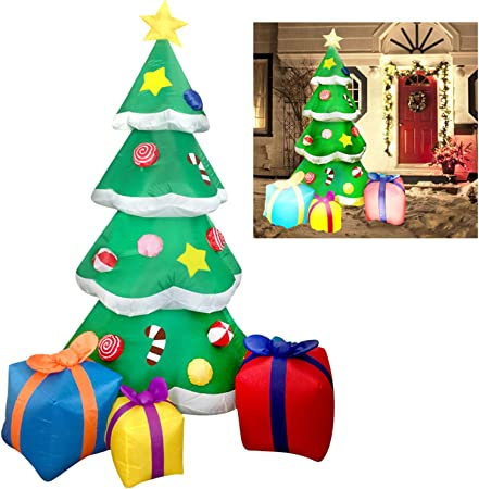 Amazon Com Joiedomi 7 Foot Led Light Up Giant Christmas Tree Inflatable With 3 Gift Wrapped Boxes Perfect For Blow Up Yard Decoration Indoor Outdoor Yard Garden Christmas Decoration Garden Outdoor