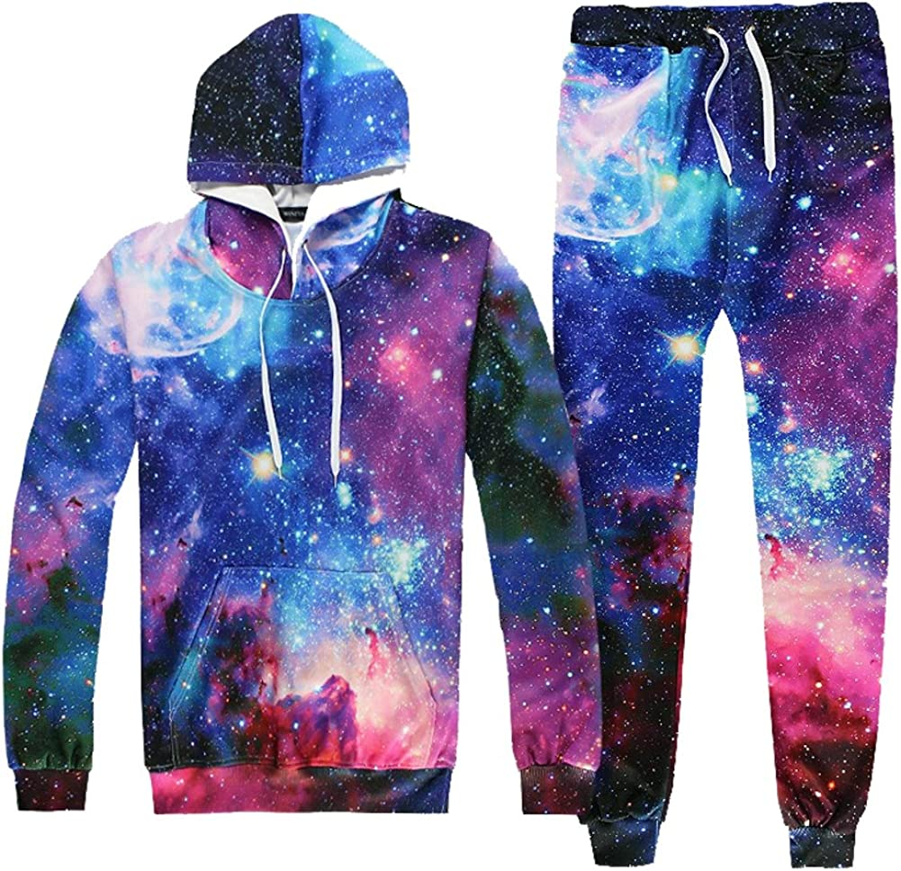 Ffox Mens 3D Space Printed Hedging Hoodies Sweatshirts Sweatpants Set