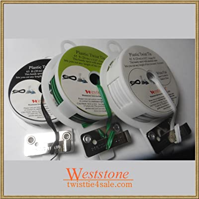 Weststone - 3pcs 65ft Plastic Flat Twist Tie Roll with Cutter - White, Black and Green: Everything Else