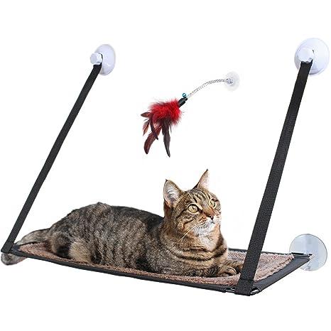Hamaca de ventana para gatos Amazy con juguete de plumas - La acogedora hamaca para gatos le ...