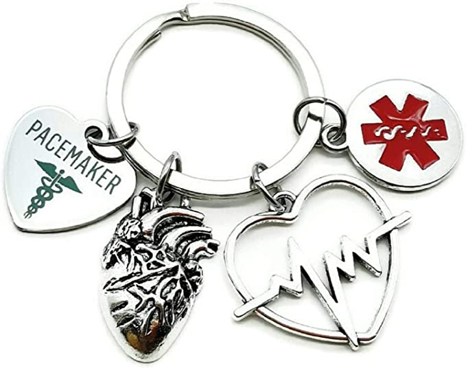 Pacemaker Medical Alert Keychain Packemaker Gift Heart ECG EKG Heartbeat Charm Medical Symbol Caduceus Heart Arrhythmia Awareness Keychain Pacemaker Implantation Pacemaker Key Ring Key Chain