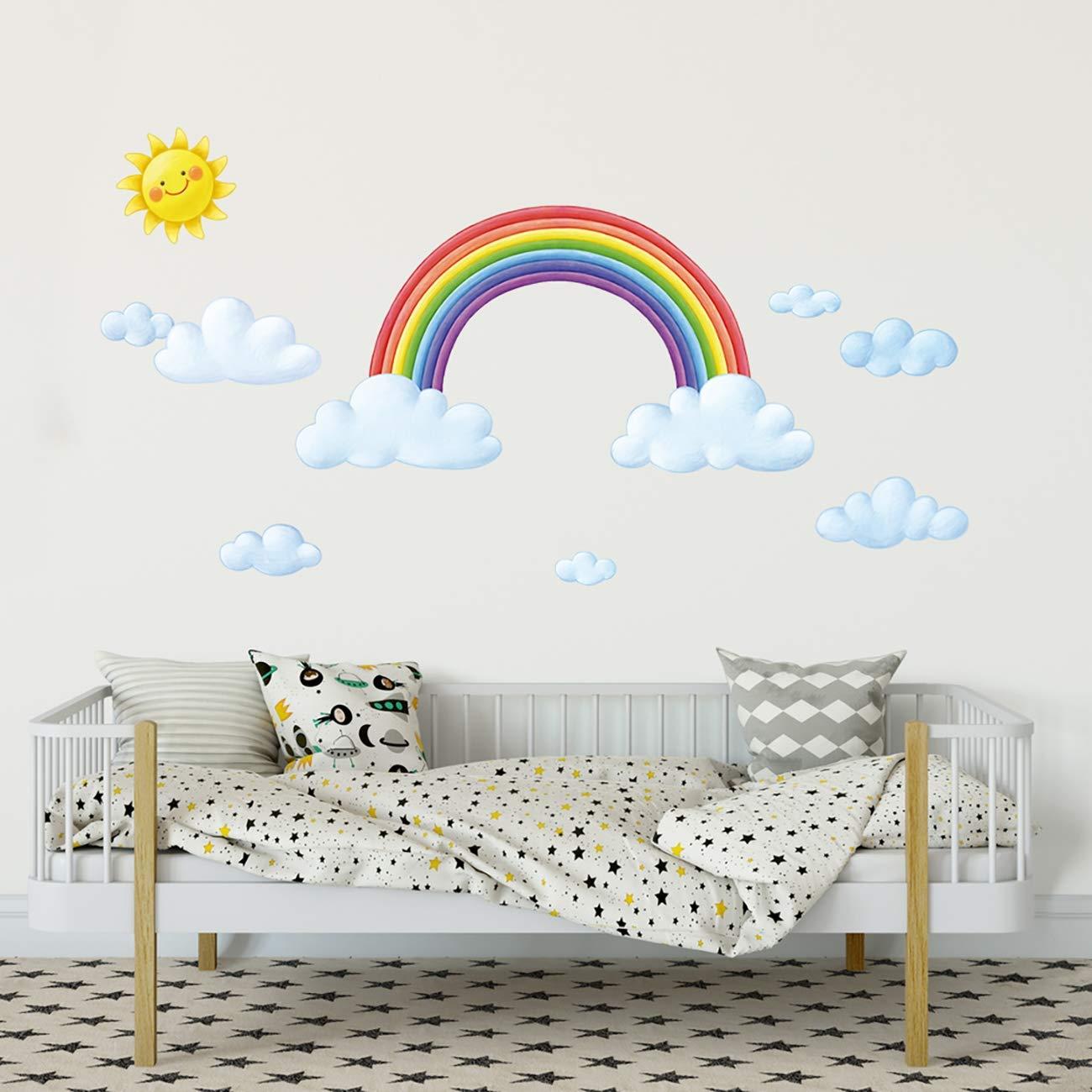 und Hei/ßluftballons Wandtattoo Wandsticker Wandaufkleber Wanddeko f/ür Wohnzimmer Schlafzimmer Kinderzimmer DECOWALL DA-1913P1406B Regenbogen