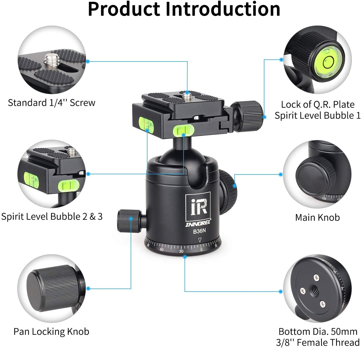 Low Profile Tripod Ball Head-INNOREL N36,Panoramic CNC Metal Camera Tripod Ball Head with Two 1//4 to 3//8 Screw Quick Release Plates for Tripod,Monopod,DSLR,Camcorder,Max Load 44lbs//20kg