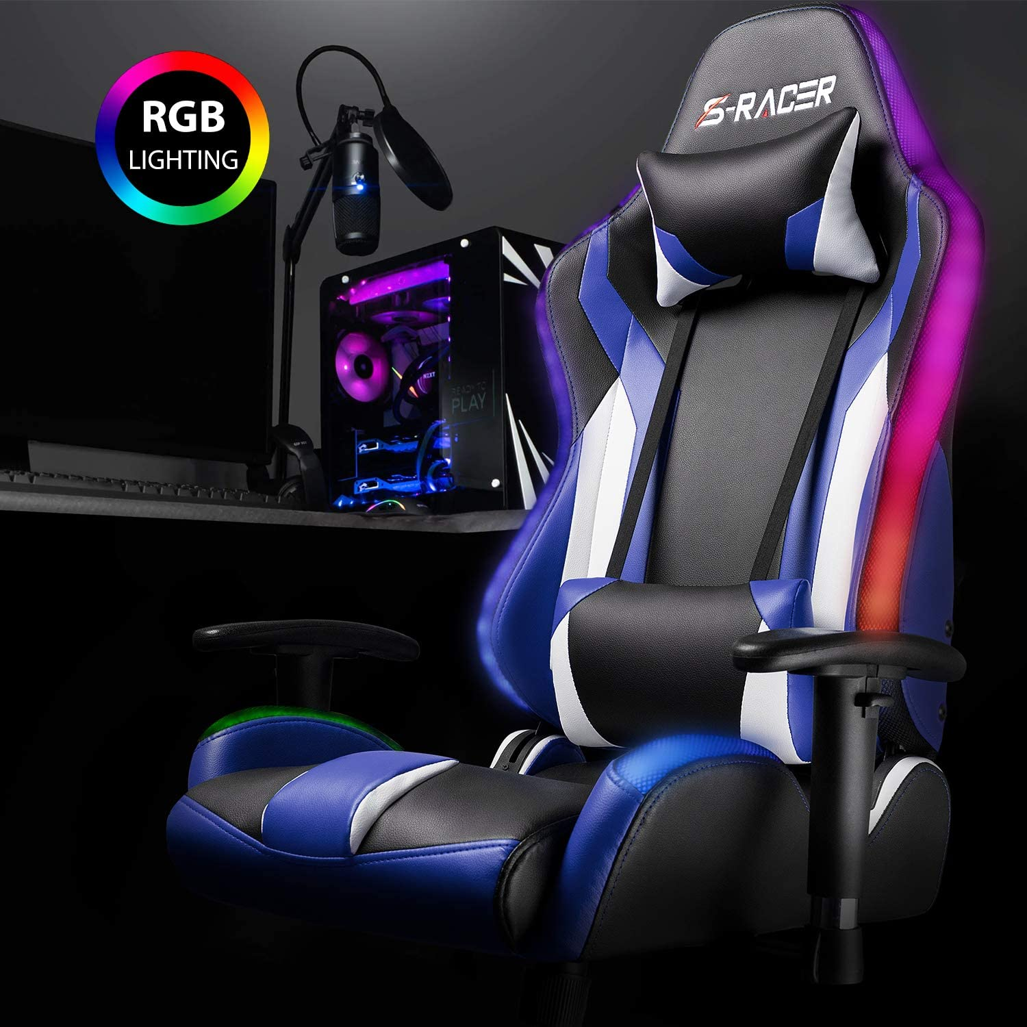 Red Homall Gaming Chair RGB Lighting High Back Computer Chair PU Leather Desk Chair PC Racing LED Ergonomic Adjustable Swivel Task Chair with Headrest and Lumbar Support
