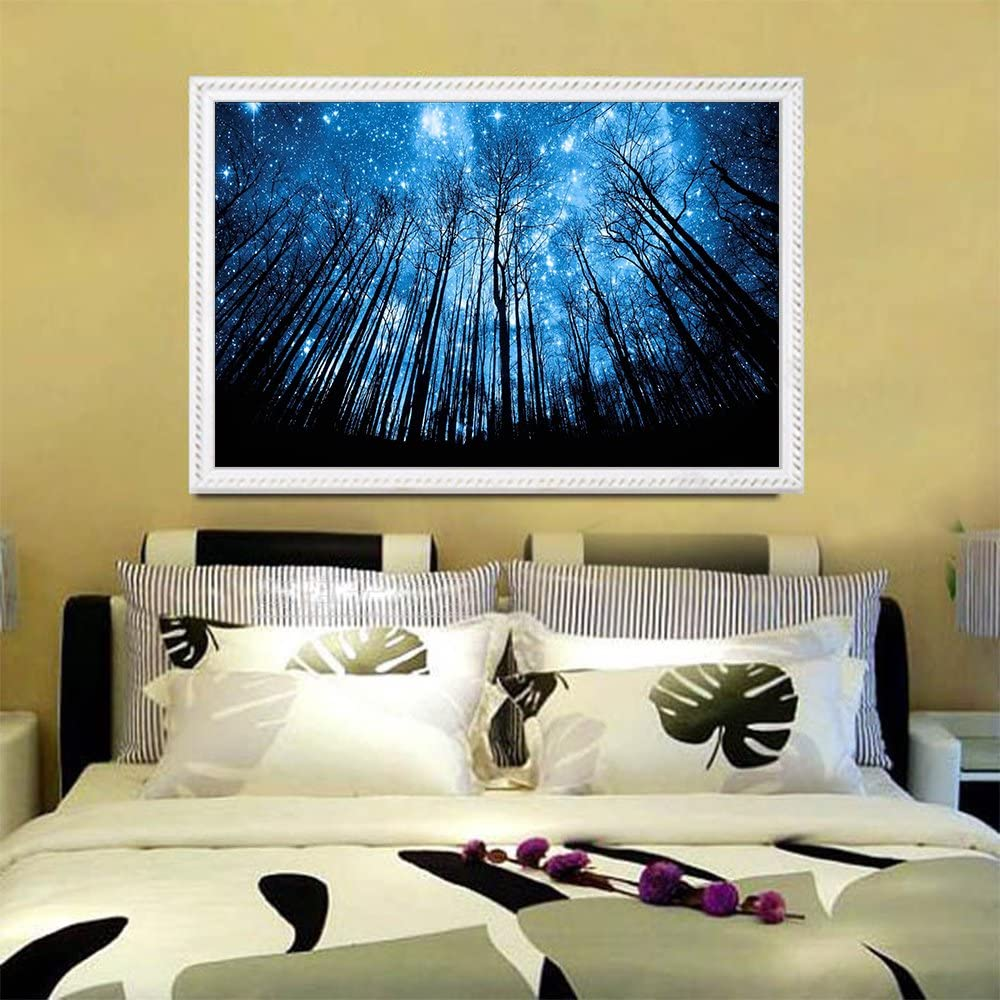 Blxecky 5D DIY Diamond Painting By Number Kits,Blue woods(18X10inch//45X25cm)