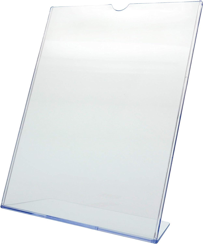 """Marketing Holders Deflect-o Superior Image L-Frame Base Slanted Desktop Sign Holder Plastic 8.5""""w x 11""""h Lot of 1"""