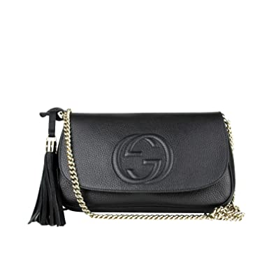 1e386911f73 Gucci Interlocking GG Black Leather Chain Strap Flap Shoulder Bag 336752  1000