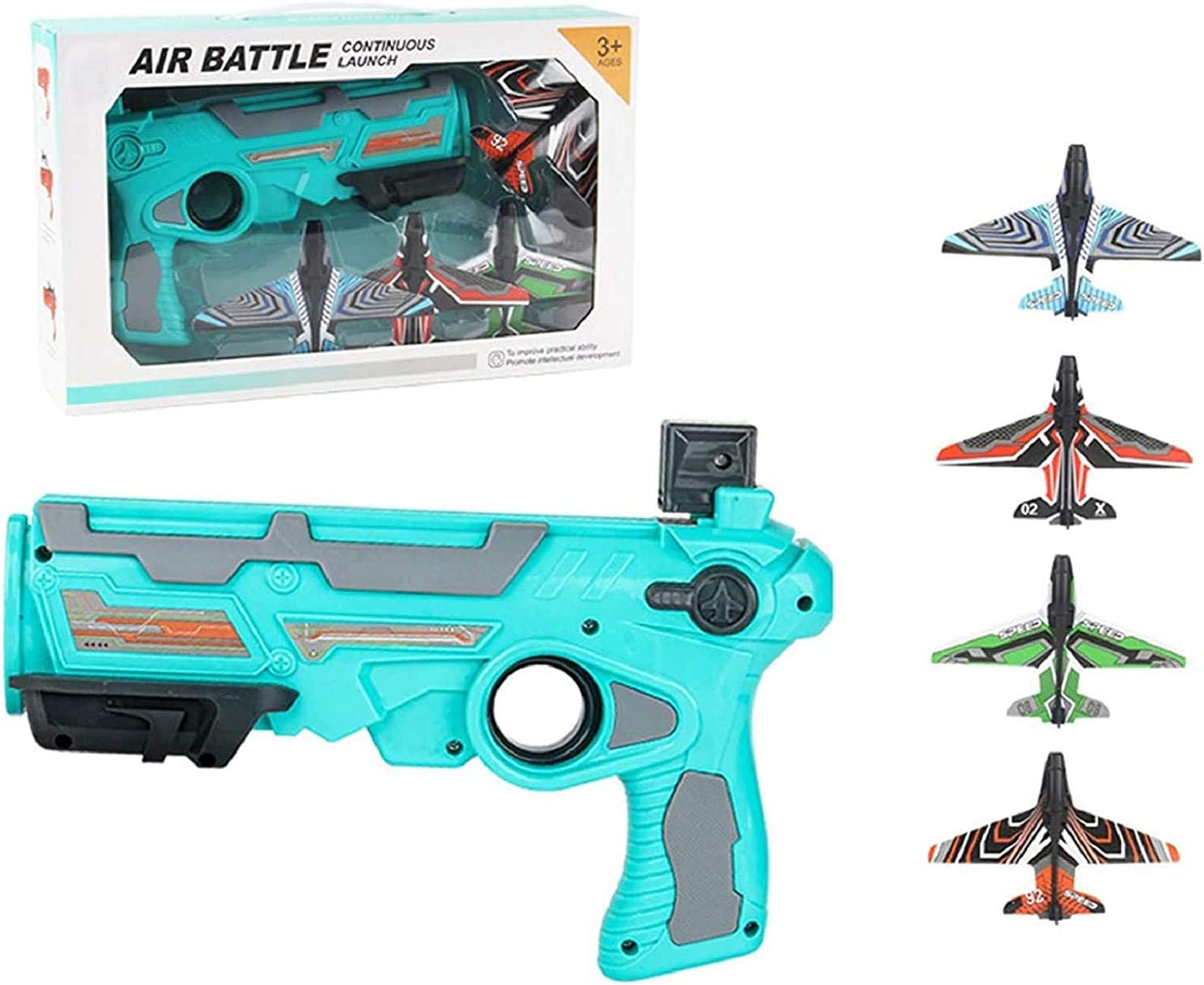 fun gifts for outdoor sports toys 2021 Explosive Toy One-click Pop-up Foam Plane-Catapult Plane is a game toy suitable for children from 4 to 12 years old equipped with 4 glider launchers blue suit