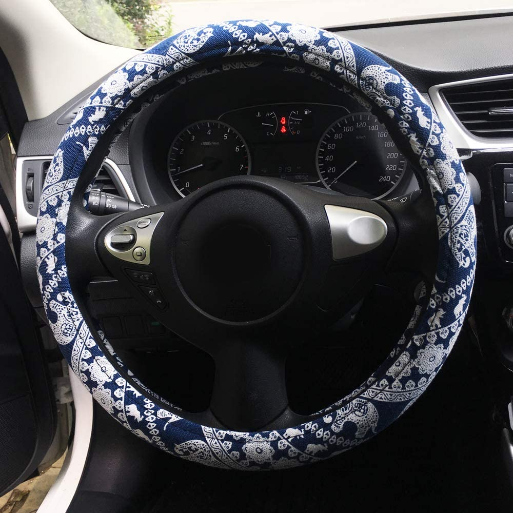 COFIT Car Steering Wheel Cover Leopard Print for Women Lady Anti Slip Auto Wheel Protector Pink Leopard Pattern Universal Fit Vehicles 14 1//2-15 inch