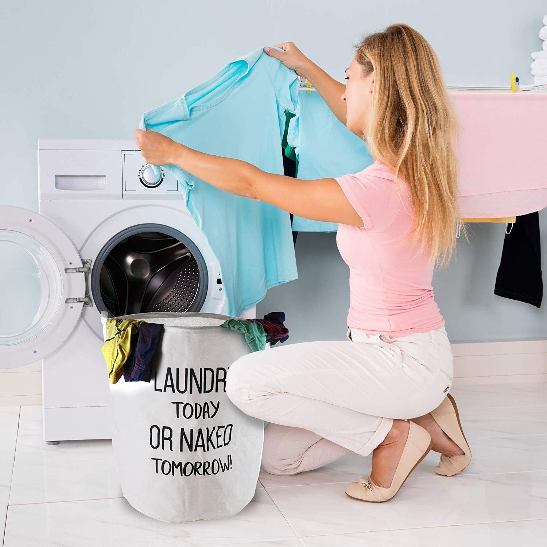 Blanco Espesada 17,7 // Medio Plegable Pop-Up de lavander/ía Cestas Impermeable Redondo de algod/ón de Lino LessMo 2 Piezas de 17.7 Lazo de la Cesta de lavadero de Almacenamiento Clasificador