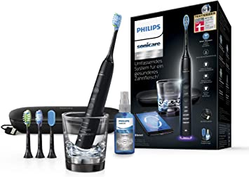 Philips Sonicare DiamondClean Smart Schallzahnbürste HX992413 mit 5 Putzprogrammen, 3 Intensitäten, Ladeglas, USB Reiseetui & 4 Bürstenköpfen
