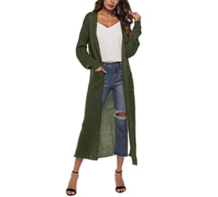 dc839f26fba4d1 Women's Casual Long Open Front Cardigan Sweater Split Maxi Knitted Duster  Cardigan