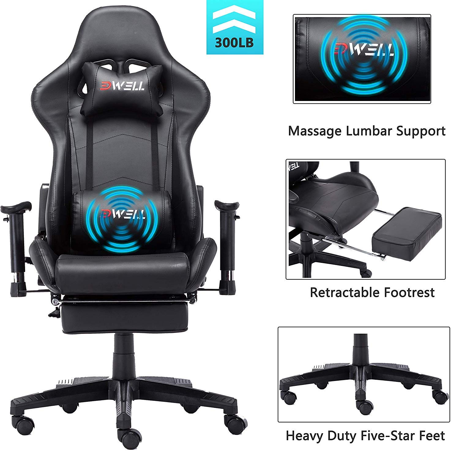 EDWELL Ergonomic Gaming Chair with Headrest and Lumbar Massage Support,Racing Style PC Computer Chair Height Adjustable Swivel with Retractable Footrest Executive Office Chair (Black) by EDWELL