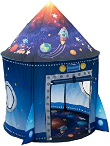 WillingHeart Rocket Ship Play Tent for Kids, Astronaut Spaceship Space Themed Pretend Playhouse Indoor Outdoor Games Party Children Pop Up Foldable Tent Birthday Toy for Boys Girls Toddler Baby